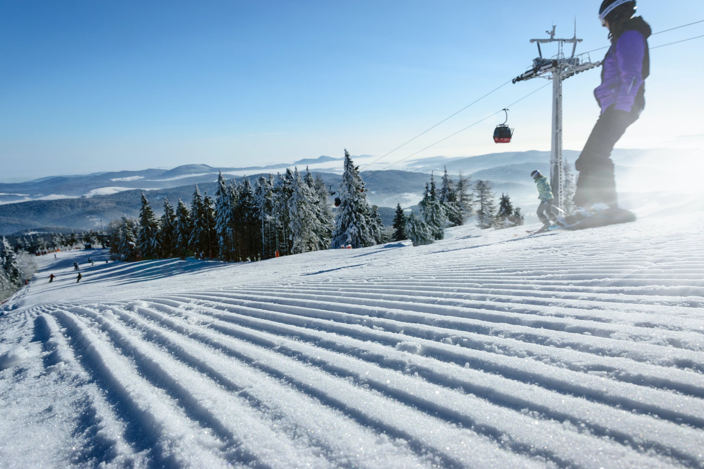 Vista pista da scii circondata da alberi alti e verdi con dei ragazzi che sciano e dietro una funivia